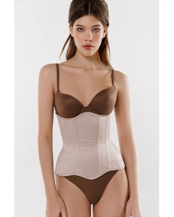 Beige satin corset without cups