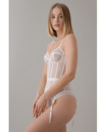 White corset with transparent cups and stocking holder