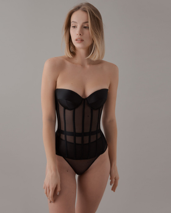 Black corset with satin cups