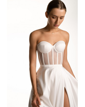White corset with satin cups